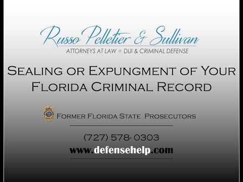 Florida Sealing Or Expungment of Your Criminal Record