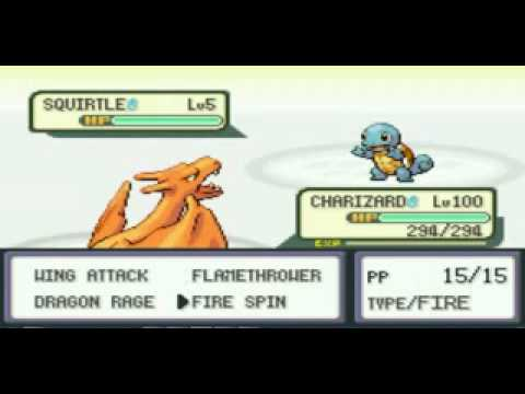 pokemon fire red Charizard lvl 100 vs lvl5 squirtle