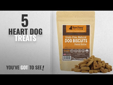 Top 5 Heart Dog Treats [2018 Best Sellers]: Raw Paws Pet Grain Free Peanut Butter Dog Biscuits,
