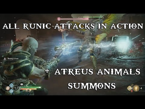 God of War - All Runic Attacks In Action + All Atreus Animals Summons