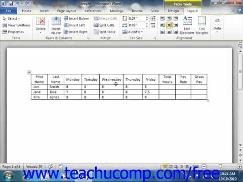 Word 2010 Tutorial Converting a Table into Text Microsoft Training Lesson 16.9