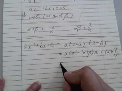 Proof of Sum and Product of roots of Quadratic Equations