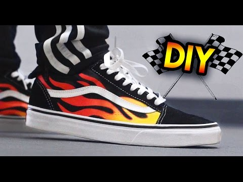 GIVEAWAY + How To: Hot Rod Flame Vans Custom & On Feet | Blending With A Paintbrush Technique
