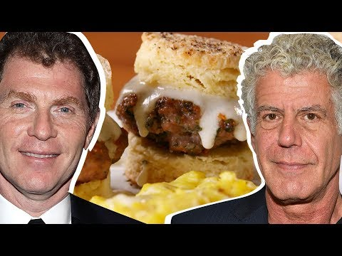 Bobby Flay Vs. Anthony Bourdain: Whose Biscuits & Gravy Is Better? | Celebrity Snackdown | Delish