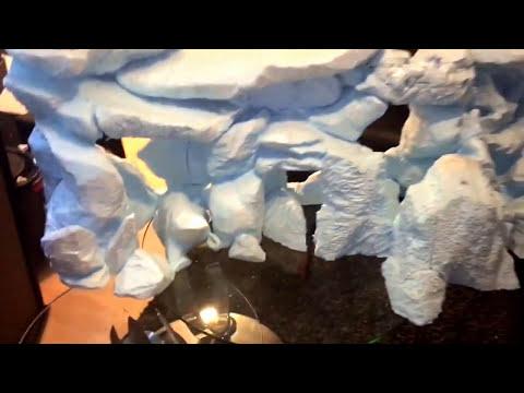 3D aquarium background with sand waterfall, styrofoam