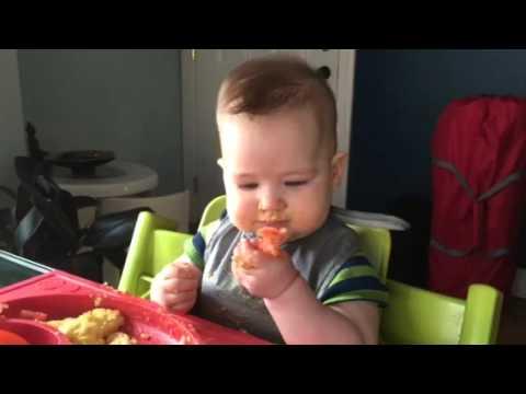 Baby led weaning - peanut butter, egg, tomato