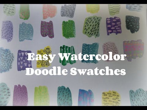 how to make Watercolor doodle swatches / watercolor doodles /easy watercolor ideas for beginners