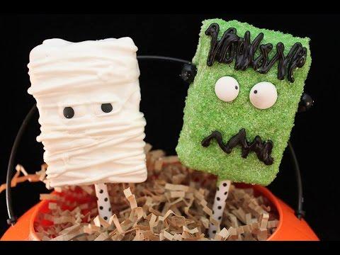 Easy Halloween Treats: Rice Krispie Mummy & Frankenstein