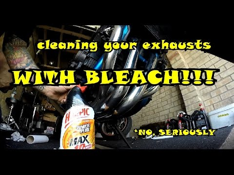 how to clean a motorcycle exhaust WITH BLEACH!!!