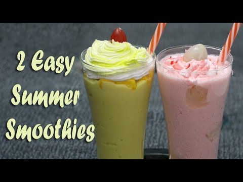 2 Easy Summer Smoothies - Home made Lychee Smoothie & Mango Smoothie