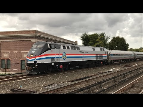 Amtrak HD 60fps: Newly Repainted GE P32AC-DM 717 Leads Empire Service Train 242 @ Yonkers (10/23/17)