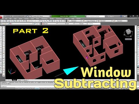 Subtracting Window From Wall || Autocad 3D में खिड़की कैसे बनाये ? || Important Tips for 3D window