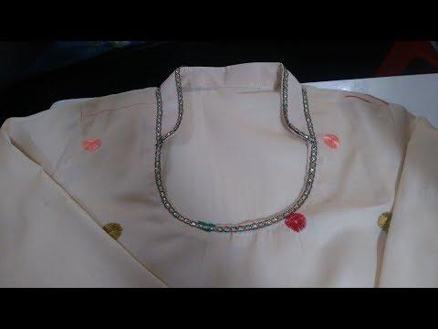 Collar Kurtis me sleeve attach karne ka sahi tarika/How to decorate collar by lace work
