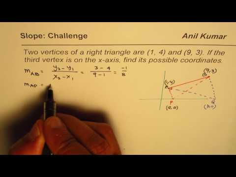 Two vertices of a right triangle are given find the third on x axis