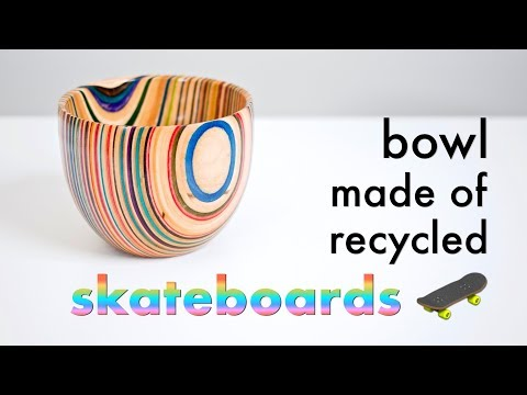 Turning A Bowl From Recycled Skateboards // Woodturning - How To Build
