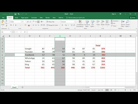 MS Excel Shortcut key:  Select Whole Column/Row & Do Sum + (Easy)