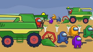 Among Us Farmer | Sowing and Mowing Bones | Among Us Animation and Tractor