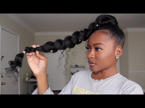 JUMBO BRAID GODDESS PONYTAIL | Natural Hair