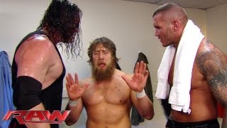 Raw - Daniel Bryan gets defensive with Randy Orton and Kane about losing to The Shield: June 3, 2013