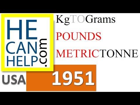 1951 {HECANHELP.COM USA} kg kilo-grams to Grams Pound Tonnes GEORGE MATHEW