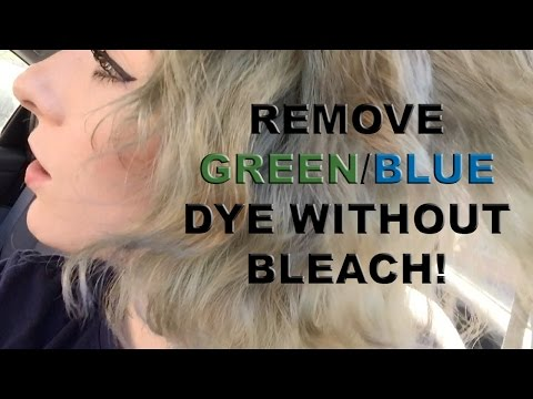 remove faded green/blue dye from hair without bleach - color oops!