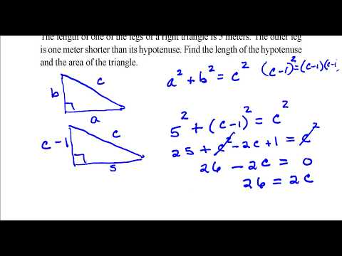 Find the length of the hypotenuse and the area of the triangle.