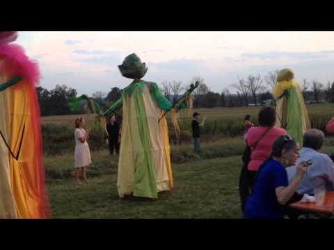 Giant vegetables and fruit puppets on parade