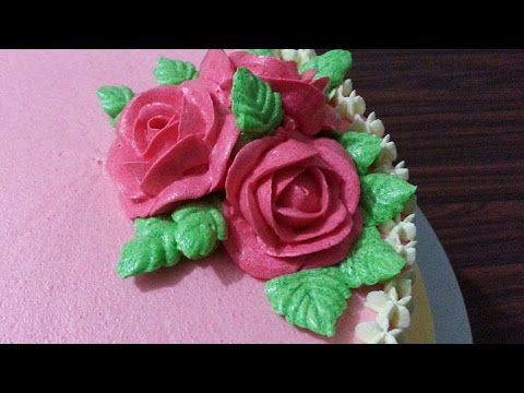 Buttercream Roses & Buttercream Leaves Cake Tutorial