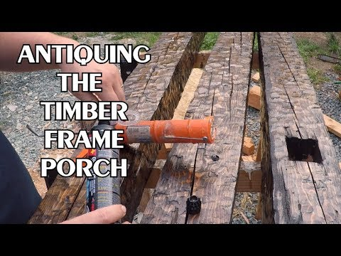 Distressing The Cabin's Front Porch Posts