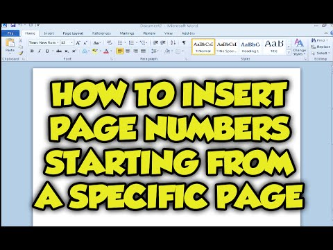Word: How To Insert Page Numbers Starting From A Specific Page In Microsoft Word 2010 / 2007