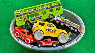 Finding toy vehicles and filled the basket, Double decker bus, SUV Police car, Construction Truck