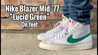 "a45c7bb3213968 Nike Blazer Mid 77 Vintage ""Lucid Green"" on Feet"