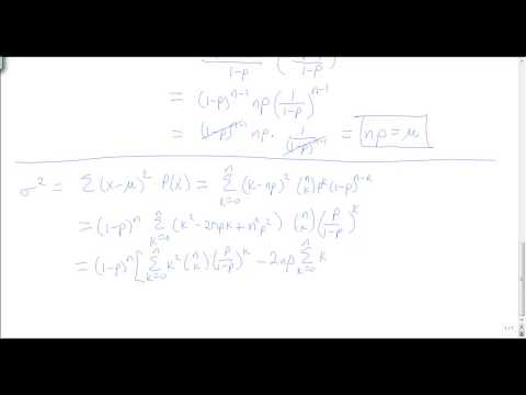 Binomial distribution: deriving the mean and standard deviation