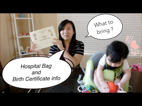 What to pack in your hospital bag & Birth certificate info (what goodies hospital will give you)