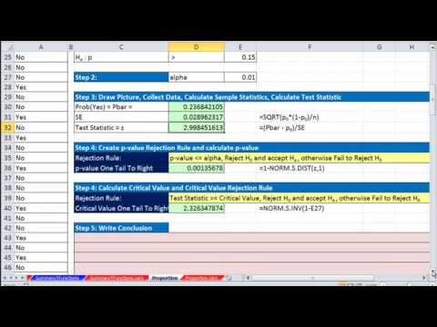 Excel 2013 Statistical Analysis #61: Hypothesis Test for Proportions using p-value or Critical Value
