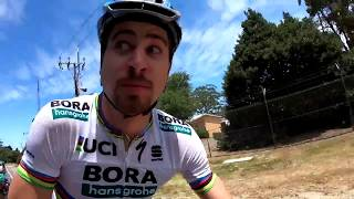 Peter Sagan and Daniel Oss mess around in Adelaide before the Tour Down Under