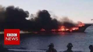 Florida casino boat bursts into flames - BBC News