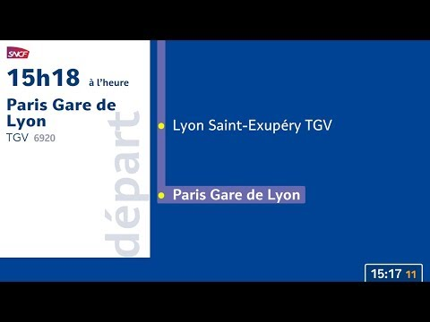 Annonce TGV n°6920 Grenoble - Paris Gare de Lyon