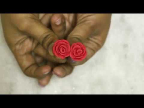 Polymer Clay Rose Earrings Studs Making | Clay Jewellery Making at Home