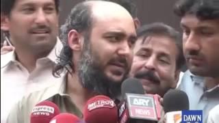 Ali Haider Gilani talks with media
