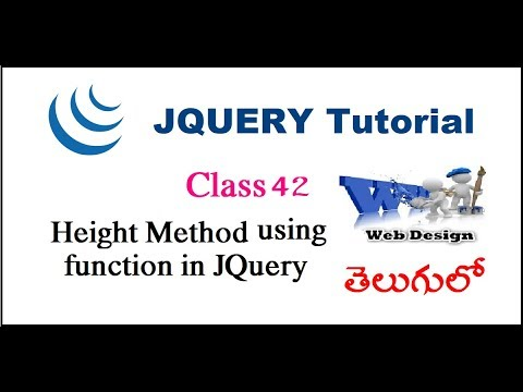 Height method  using function in jQuery Telugu- 39-vlr training