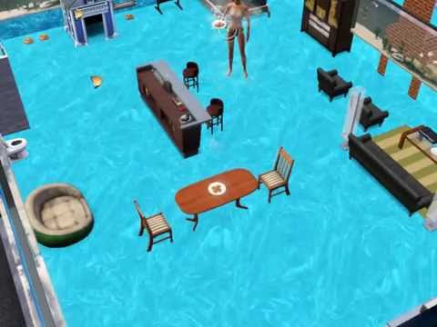 Sims 3 pets house in pool