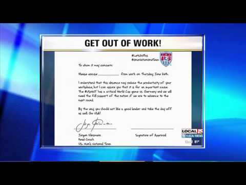 US Soccer Coach Writes Work Excuse