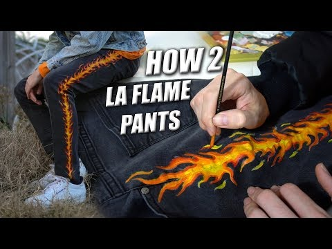 How to 'La Flame' Denim! Tutorial | Custom Paint Jeans!