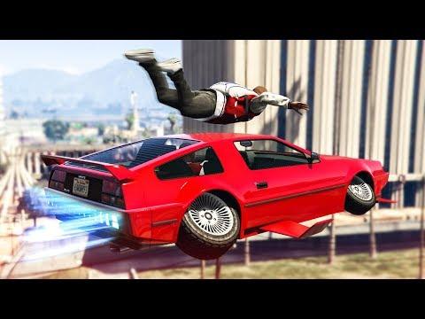 CRAZY FLYING CAR SKYDIVE STUNT! - (GTA 5 Stunts & Fails)