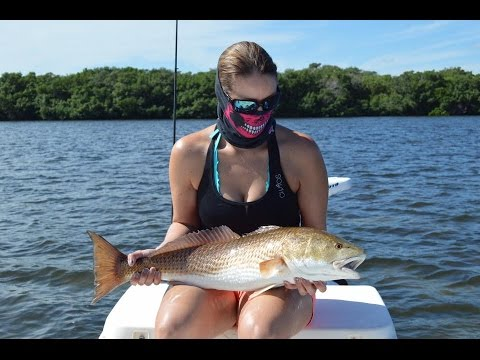 Girl Catches Redfish and Snook Inshore Fishing in Tampa Florida