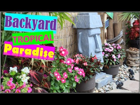 Tropical Backyard Tour  |  Tiki Decor and Tiki Bar