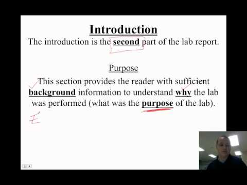 Video 1.2 - How To Write A Lab Report - Introduction