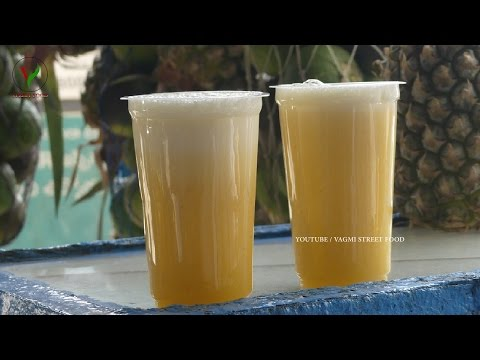How to Make PINEAPPLE JUICE Recipe || Fresh Pineapple Fruit Juice in Minutes || Indian Street Food
