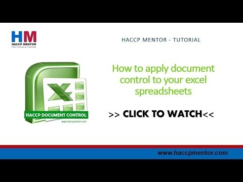 How to add document control to excel spreadsheets